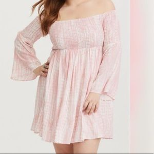 TORRID Pink Tie Dye Smocked Challis Mini Dress SZ2